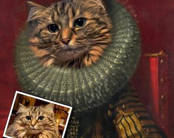 CAT PORTRAIT/ Pet Portrait / Custom Cat Portrait/ Personalized Cat Portrait/ Cat Print/ Cat Art