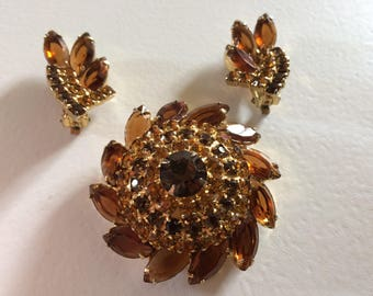 DELIZZA & ELSTER Stunning Juliana Brooch and Earring Demi Parure