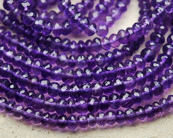 2x14 Inches, Super Rare Finest Quality Purple Natural African AMETHYST Micro Faceted Rondelles,4-4.5mm Manufacturers Price Item