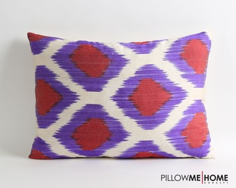 ikat pillow cover // silk pillow cover // handwoven & hand-dyed pillow // 14x20 decorative lumbar pillow