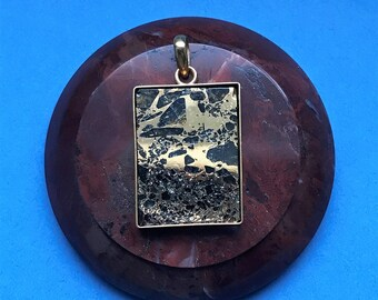 Seymchan Pallasite Meteorite Pendant Gold 24k, meteorite necklace
