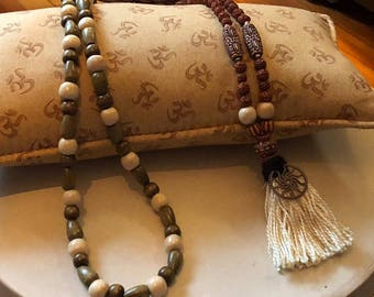 The Takiya Mala -  sits on Your Cushion, Altar or Yoga Mat. Melt into Meditation with this XL Lofty Mala. Allow it to Sustain You.