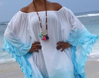 Trendy Loose fitting frill dress/Beach Dress/Kaftans/Bohemian Summer dress/Casual chic dress * MAGICAL DRESS