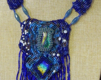 Dichroic glass and seed bead embroidery necklace