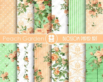 Peach and Green Scrapbook Paper, Floral Digital Paper Roses Scrapbook Paper Pack, Wedding, Scrapbooking - INSTANT DOWNLOAD  - 1869