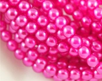 4mm rondes lumières perle foncé rose-Qté 50 (CZ 4D DP)