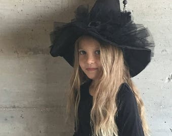 Silver broom and tulle tassel mini witch Hat