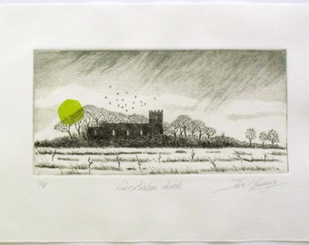 Drypoint etching of a church in the Lincolnshire marshes silhouetted against a stormy sky by Steve Manning