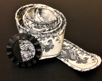Black Toile Belt with an Antique Belt Buckle.  One of a kind.
