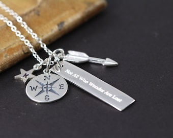 Not All Who Wander are Lost Necklace , Graduation Gift , 925 Sterling Silver Engraved Jewelry