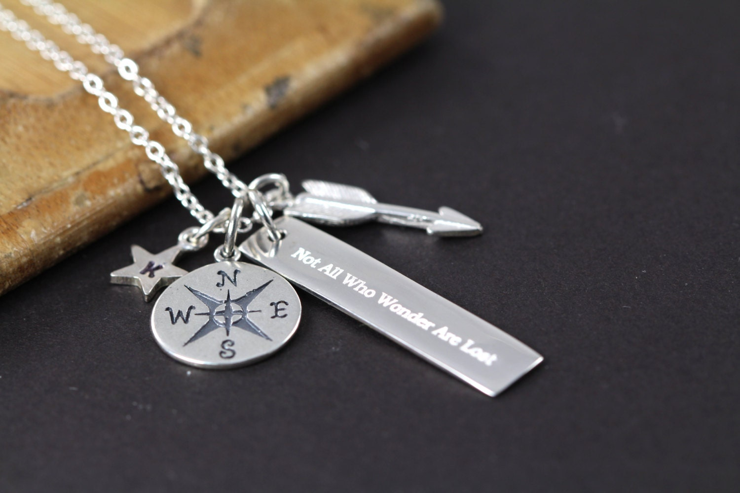 Not all who wander are lost necklace graduation gift 925 zoom mozeypictures Images