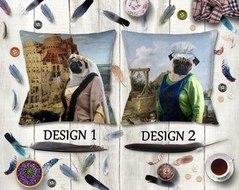 PUG Pillow/Pug Portrait/Pug Pillow Case/Pug Art/Pug Print/Personalized Dog Pillow/Custom Dog Portrait