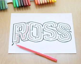 ROSS Name Maze / Instant DOWNLOAD Printable PDF / Personalized Activity for All Ages / Hand-drawn