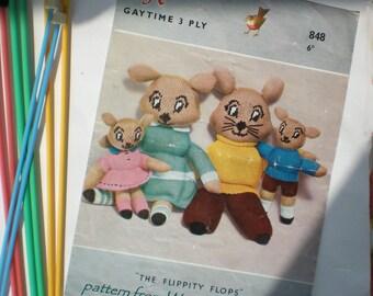 Vintage Knitted Pattern 036 Flipperty Flops from ToyPatternLand by WonkyZebra