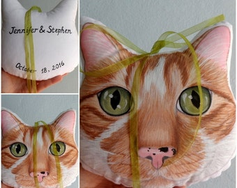 Custom Pet Wedding Pillow, Custom Pet Portrait Plush Pillow, Custom pet pillows, cat pillow, dog pillow, gift for pet lovers, bridal gift