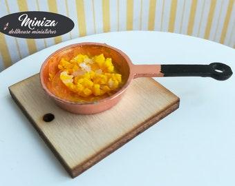 Miniature scrambled eggs in a pan, 1:12 scale