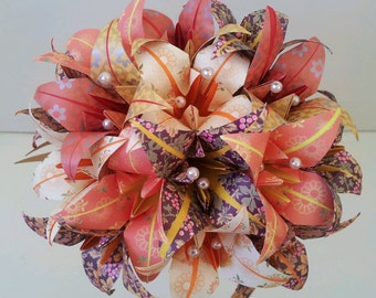 Paper Flower Bouquet Wedding / Anniversary / Origami Flowers Lily Burnt Orange Cinder Peach Mother's Day