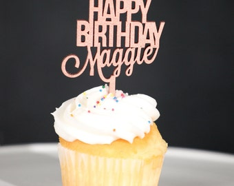 Cupcake Topper-Rose Gold Custom Name Happy Birthday Cupcake Toppers-6 Set Cupcake Toppers-Custom First Name Cupcake Topper