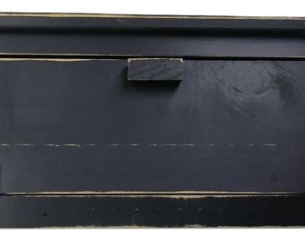 Country Primitive Wood Breadbox With Leather Hinges Distressed Finish