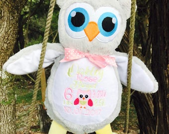 Personalized owl etsy exclusive personalized owl stuffed animalkeepsake with name birth announcement custom baby gift negle Choice Image