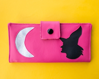 Pink Witch Wallet, Crescent Moon Large Vegan Card Money Holder