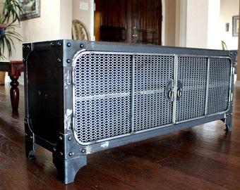 Modern Industrial Media Console   Steel TV Stand Cabinet Vintage   Entertainment Center   Audio   HiFi Retro