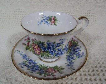 Vintage Paragon Teacup & Saucer, By Appointment to HM the Queen, Tea Cup, Bone China, England, Blue, Pink Flowers, England, Bridal Gift,