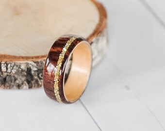 Wood Ring - Cocobolo Ring - Gold Ring - Women's Wood Ring - Wood Wedding Bands - Wood Engagement Ring - Wooden Ring - Cocobolo Wedding Band