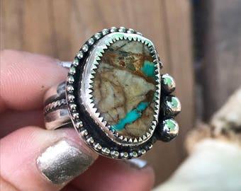 Royston Ribbon Turquoise Ring, Mens Turquoise Ring, Natural Turquoise Ring, Mens Jewelry, Mens Ring, Size 9  Ring, Natural Stone Ring, NYE