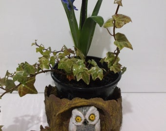 Terracotta Garden Pot,Owl in a Tree Trunk Plant Pot, Handcrafted Pottery, Ceramic Planter