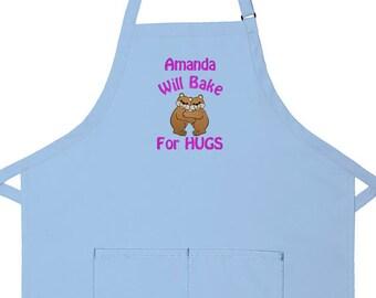 Personalized Apron Will Bake for Hugs Women's Bib Apron