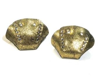 Gold Glitter Suede Roller Skate Toe Caps