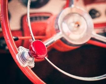 Classic Car Art, Steering Wheel Knob Photo, Man's Wall Decor, Old Car Photo, Man Cave Decor, Ford Photograph, Automobile Art, Red, Canvas