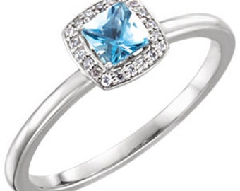 Aquamarine Diamond Halo 14K Gold Ring, Birthstone Ring, March