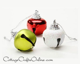 """Jingle Bells, Red White Green Fancy Assorted, 1 1/4"""" - 21 Piece 30mm  -  Darice, Glitter, Matte, Shiny, Christmas Sleigh Bell, Craft Supply"""