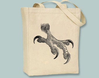 Vintage Eagle Talon Illustration Natural or Black Canvas Tote  - Selection of sizes available, Image in ANY COLOR