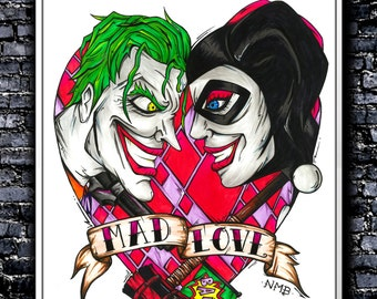 Mad Love - A4/A3 Signed Art Print (Inspired by The Joker and Harley Quinn)