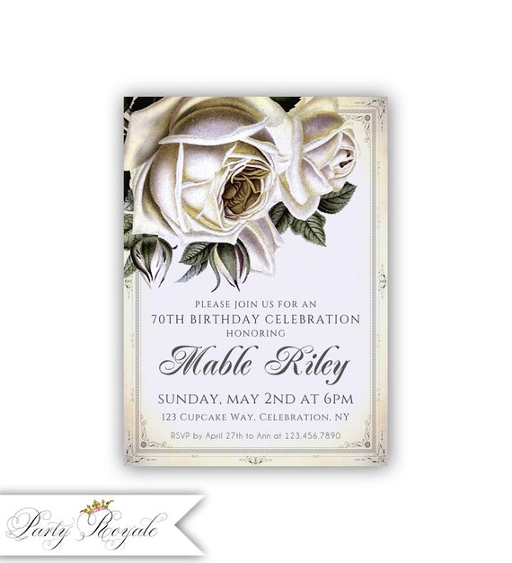 Lilac 70th Birthday Invitations For Her Vintage Roses Lavender Womens 50th 60th Digital Or Printed