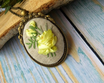 Yellow rose necklace for women Flower necklace Embroidered jewelry Embroidered pendant Ribbon embroidery necklace Silk anniversary gift wife