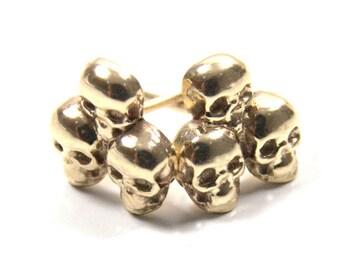 Skull Ear Studs Three Skulls in 9ct Gold Hand Sculptured in The UK
