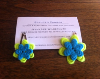 Teal and Green flower clips