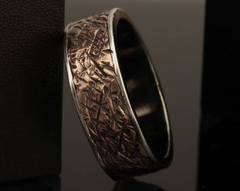 Wedding Band, Mens wedding rings, Unique Wedding Bands for Men, Rustic Copper Ring, 8mm Hammered Ring for Men, Gift For him, RS-1091