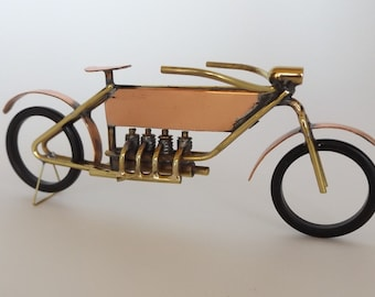Brass and Copper Motorcycle Sculpture of 1908 Belgum FN Four, Handmade using just Brass, Solder and a Torch