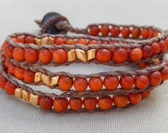Reclaimed Wood Hemp Triple Wrap Hemp Bracelet