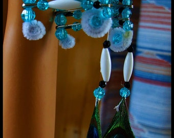 Indian Headdress-Beaded-Aqua and White