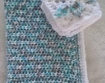 Hand crochet chunky baby blanket with matching comforter blanket, grey, blue and white mix