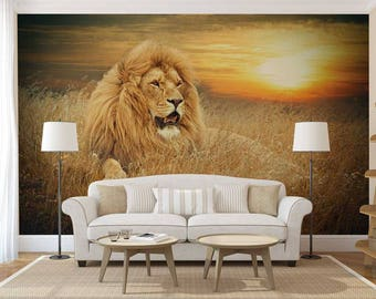 Wall Mural Jungle, Wall Mural Lion, Jungle Wall Mural, Wallpaper Nature, Lion Wall Decal