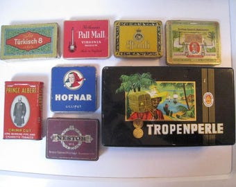 8 in 1 vintage / antique cigarettes tins