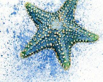 Blue Starfish watercolor PRINT 5x7, 8x10, 11x14