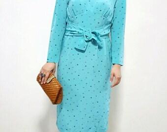 Vintage Turquoise Long Sleeve Dress, 1980s, Japan, S